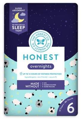 The Honest Company Honest Overnights 17-Pack Size 6 Diapers in Sleepy Sheep Pattern