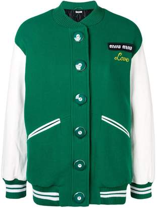 Miu Miu oversized embroidered logo bomber jacket