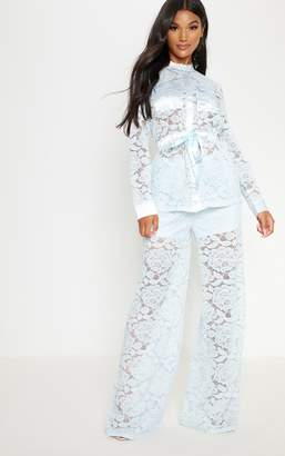PrettyLittleThing Baby Blue Lace Military Detail Tie Waist Shirt