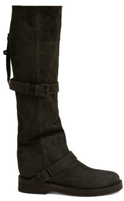Ann Demeulemeester Nubuck Slouch Leather Boots - Womens - Dark Grey