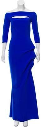 Chiara Boni Long Sleeve Evening Dress Blue Long Sleeve Evening Dress