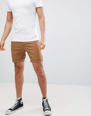 Asos Design DESIGN Slim Chino Shorts In Camel