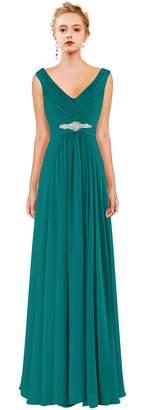 Judy Ellen Women V Neck Chiffon Long Bridesmaid Dress Evening Gown J160LF US