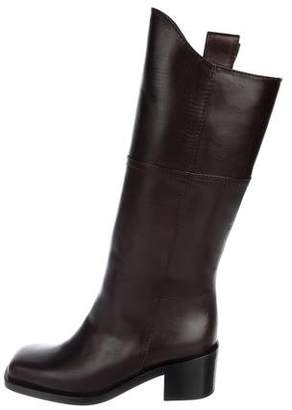 Chanel Leather Square-Toe Boots w/ Tags