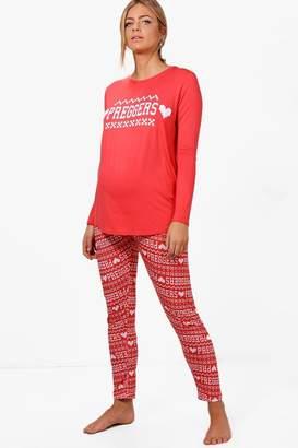 boohoo Maternity Preggers Christmas Pyjama Set
