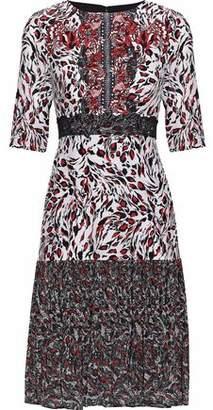 Saloni Vera Printed Silk Crepe De Chine And Pleated Chiffon Dress