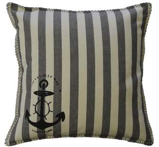 "AM Home Charcoal Grey Stripe Nautical Pillow With Whipstich, Feather Insert, 20"" x 20"""