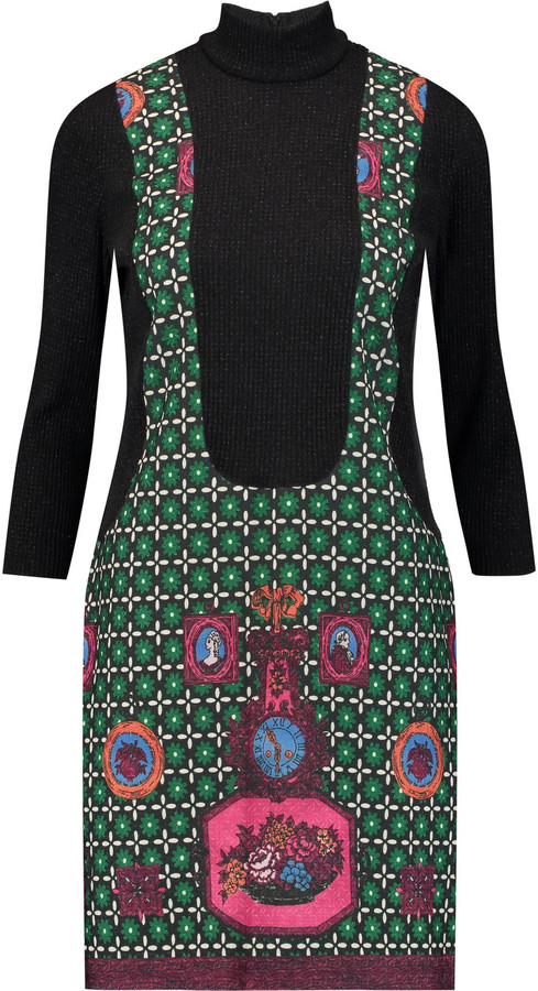 Anna Sui Printed jacquard and ribbed-knit turtleneck mini dress