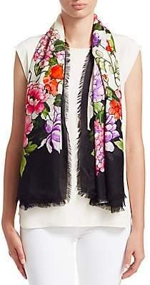 Gucci Women's Floral-Print Silk-Blend Scarf