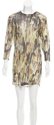 Isabel Marant Feather Print Linen Knit Dress