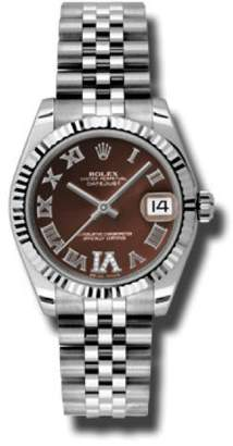 Rolex Datejust Steel and White Gold Bronze Roman Dial 31mm Watch