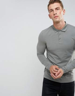 Asos Design Muscle Fit Long Sleeve Jersey Polo In Grey