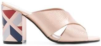 Pollini pattern block heel sandals