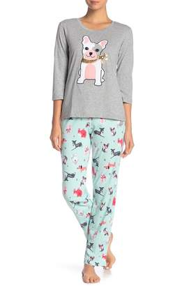 Couture PJ Dog Print Pajama Top & Pant Set