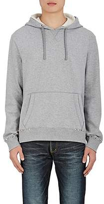 Valentino Men's Studded Cotton-Blend Terry Hoodie - Light Gray
