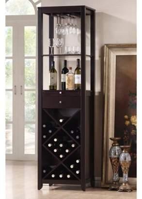 Baxton Studio Wholesale Interiors Austin Wood Modern Wine Tower, Dark Brown