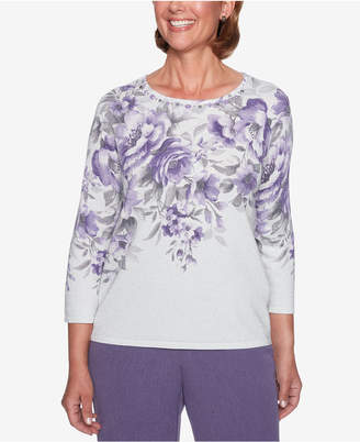Alfred Dunner Smart Investments Printed Metallic Top