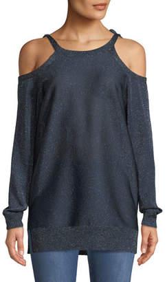 St. John Glitter Jersey Knit Cold-Shoulder Sweater