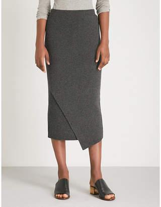 Allude Asymmetric-hem wool and cashmere-blend midi skirt