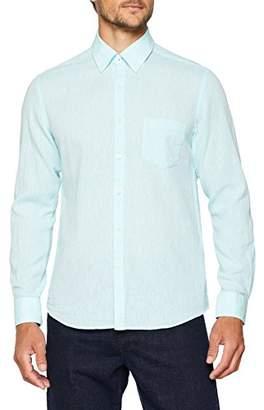 Cortefiel mens Camisa Lisa en Lino/Algodón Regular Fit Long Sleeve Casual Shirt,L