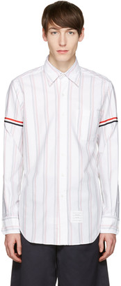 Thom Browne White Striped Grosgrain Classic Shirt $500 thestylecure.com