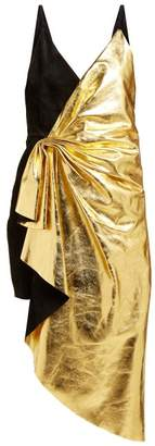 Gucci Pleated Metallic Leather And Suede Mini Dress - Womens - Black Gold