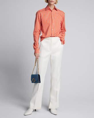 Ralph Lauren Rowland Pinstriped Cotton Boyfriend Shirt, Orange