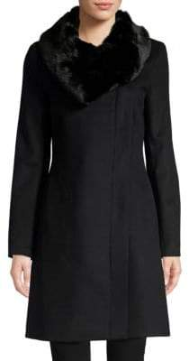 Donna Karan Faux Fur-Collar Wool-Blend Coat