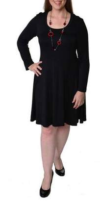 24/7 Comfort Apparel Women's Plus Long Sleeve Casual Dress