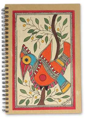 Mango Bird Handpainted Bird Journal 40 Pages of Handmade Paper