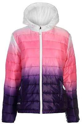 Hot Tuna Womens Gradient Jacket Padded Coat Top Long Sleeve Hooded Zip Full