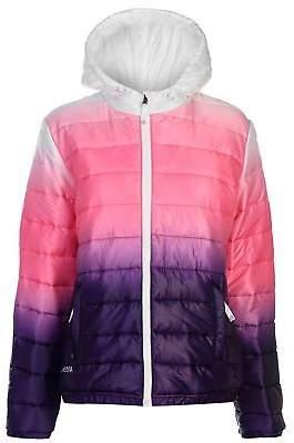 Hot Tuna Womens Gradient Jacket Padded Coat Top Long Sleeve Hooded Zip Full
