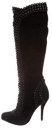 Christian Dior Embellished Suede Knee-High Boots