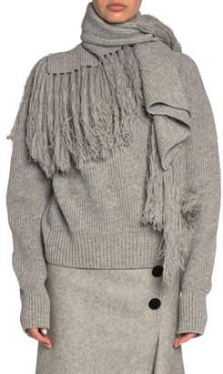Sacai Draped Scarf-Neck Wool Turtleneck Sweater