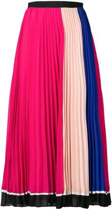 Self-Portrait colour block pleated skirt
