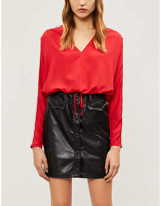 The Kooples Ladies Red Crystal-Embellished V-Neck Crepe Top