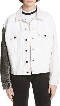 Alexander Wang alexanderwang.t Denim x Game Contrast Sleeve Denim Jacket