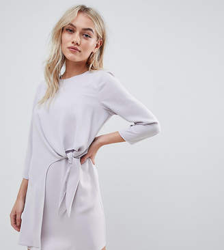 Asos DESIGN Petite knot front mini shift dress