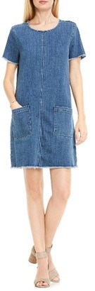 Women's Two By Vince Camuto Frayed Denim Shift Dress $119 thestylecure.com