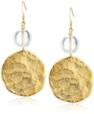 Kenneth Jay Lane Polished Gold Coin With Top Drop Earring