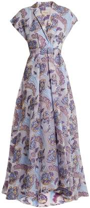 Temperley London Elsa V-neck floral-jacquard gown