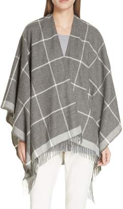 Eileen Fisher Check Alpaca Poncho Wrap