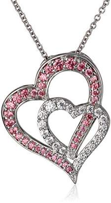 Twisted Heart Sterling Silver and White Cubic Zirconia Pendant Necklace