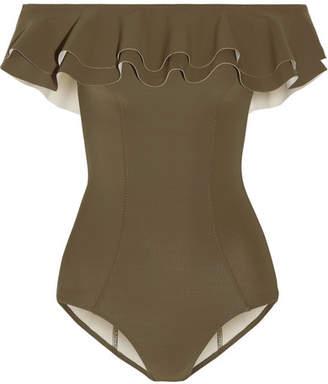 Lisa Marie Fernandez Mira Off-the-shoulder Ruffled Bonded Swimsuit - Army green
