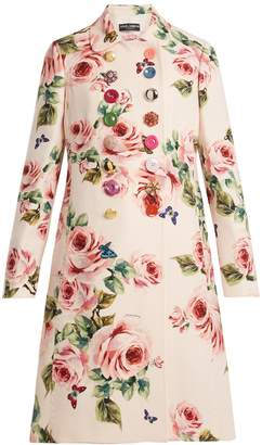 Dolce & Gabbana Rose-print double-breasted wool-blend coat