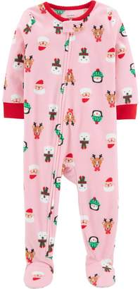 Carter's Baby Girl Microfleece Santa, Penguin & Reindeer Christmas Footed Pajamas