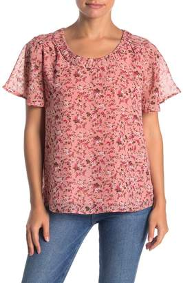 Pleione Floral Scoop Neck Flutter Sleeve Chiffon Top