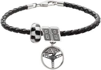 "Insignia Collection NASCAR Dale Earnhardt Jr. Leather Bracelet & Sterling Silver ""88"" Charm & Bead Set"