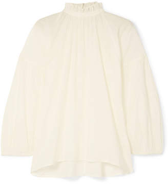 Apiece Apart Victoria Ruffled Cotton Blouse - White