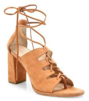 Loeffler Randall Helene Lace-Up Suede Block Heel Sandals